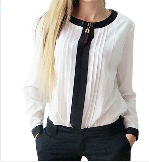 FS Hot Women Tops And Blouses 2016 New Spring Ladies Chiffon Blouse Shirt Long Sleeve O- Neck Bow Tops