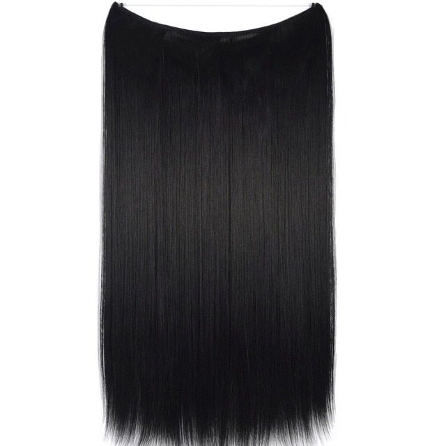 "TOPREETY Heat Resistant B5 Synthetic Fiber 24"" 60cm 100g Straight Elasticity Wire Halo Hair Extensions 30 Colors Available"