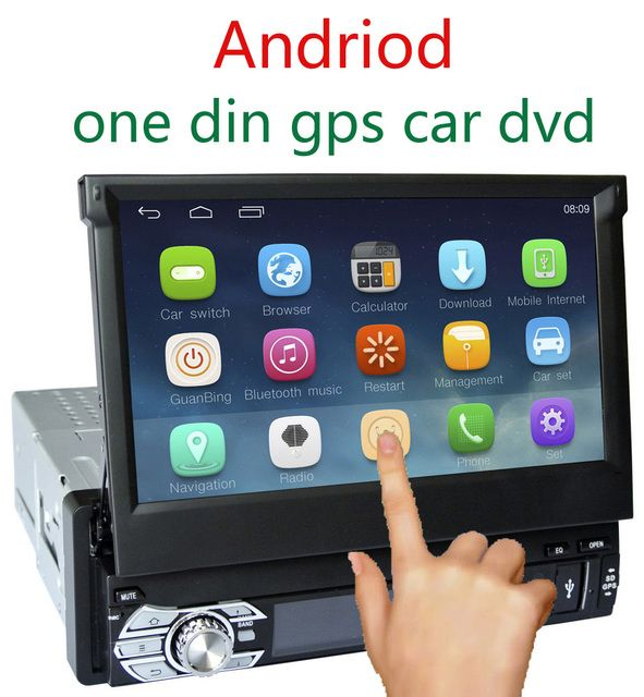 7 Touch Screen Single One Din Android  Car DVD GPS Navi Radio RDS WIFI 3G Phonebook BT AUX Steering Wheel Control Quad Core