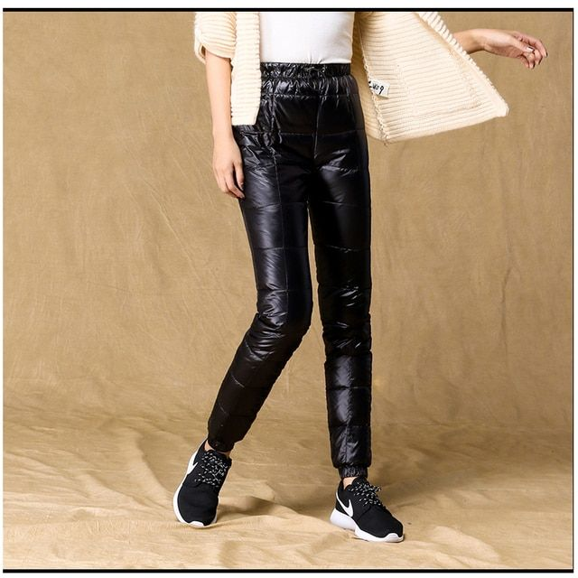 2016 Winter women Down pants outside wear thicken bright surface waterproof Duck down pants cotton trousers