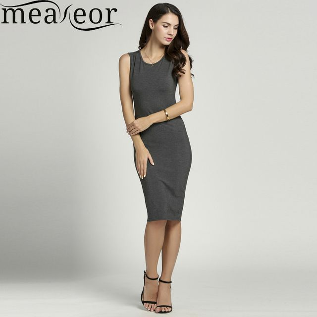Meaneor Women O-neck Sleeveless Dress women Slim Soild Dress Fit Bodycon Tank women Casual  Dress Size S-XXL