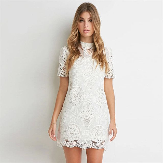 Fashion flower Hollow-out White  lace Woman dress Backless Grace Cultivate One's Morality Women Dresses HD00089