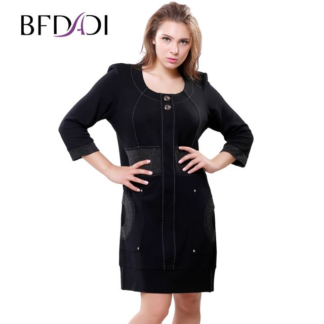 BFDADI 2016 New Brand Casual Autumn Winter Dress Loose Comfortably 3/4 Sleeve Office Women Dresses Black Plus Size Vestidos 6270