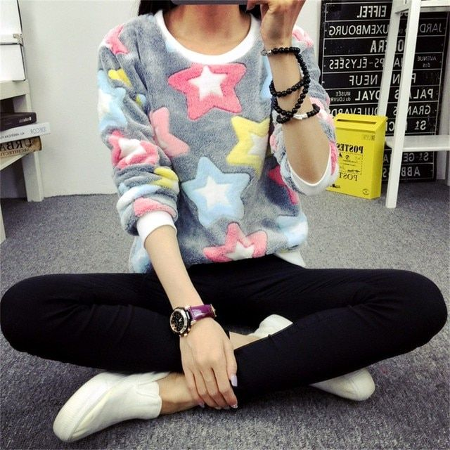 2017 New Autumn Harajuku Style Long Sleeve Pullover Tops Colorful Stars Sweatshirt Hoodies Tracksuit For Women Size M L XL