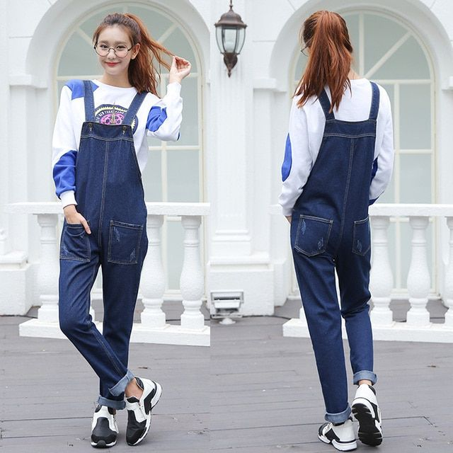 2017 Spring Women Jumpsuit Blue Denim Pants Rompers Female Overalls Jeans Casual Loose Jumpsuits 10PCS/lot Wholesale