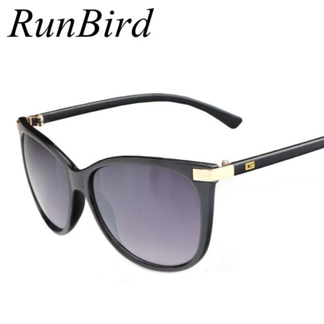 "RunBird Fashion Women Brand Design Sunglasses ""G"" Logo on The Temple Sunglass Cat Eye Sun Glasses for Women CE UV400 R017"