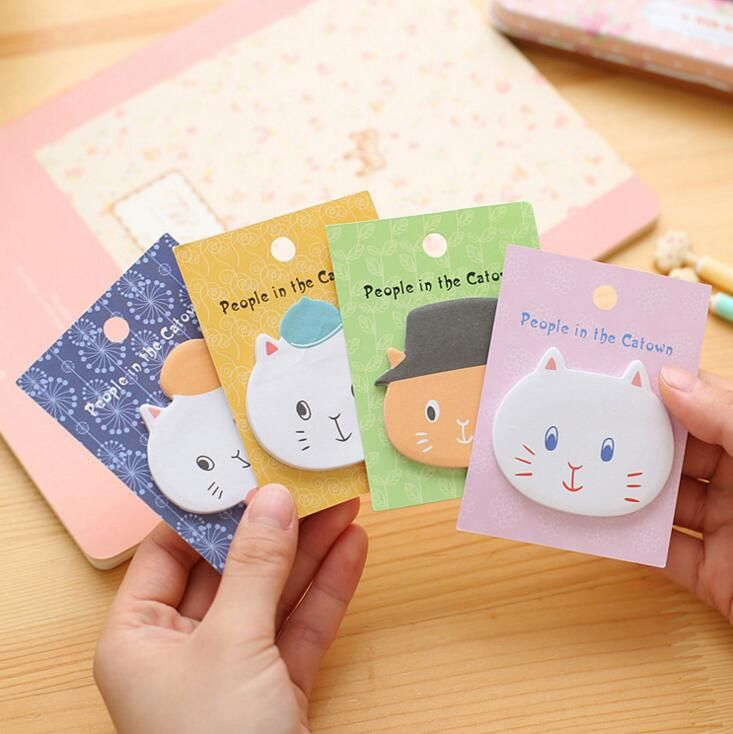 Cute People in Catown Self-Adhesive Memo Pad Sticky Notes Post It Bookmark School Office Supply