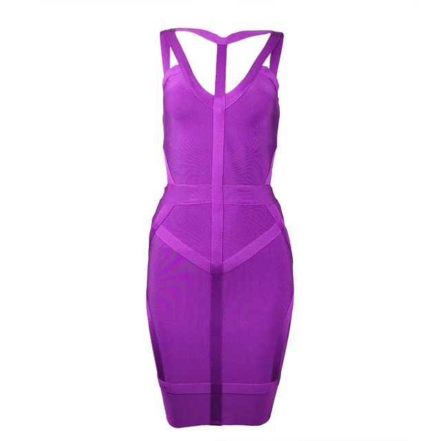 2017 new fashion summer dress purple Sleeveless off shoulder strapy bodycon bandage dress club dresses vestidos party dress