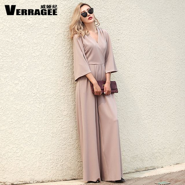 Verragee Women Autumn Winter Rompers Sexy V Neck Jumpsuit Plus Size Long Pink Jumpsuit Women Casual Fashion Wide Leg Rompers