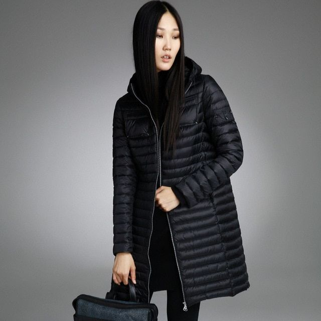 Misun2016 autumn and winter medium-long thin down coat female fashion with a hood