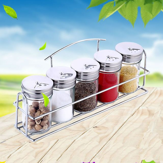 6pcs/set Spice Jar Glass Seasoning Bottle Rotating BBQ Salt Pepper Boxes Kitchen Condiment Flavoring Storage Tool