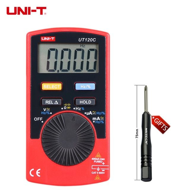 UNI-T UT120C Ultra-portable Auto Ranging Auto-off Digital Multimeter Capacitance, Resistance, AC/DC Current Voltage Meter Tester