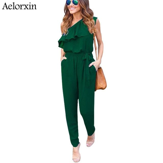 Aelorxin 2017 Sexy Bodysuit Women Summer Fitness Off Shoulder Ruffles Female Jumpsuit Rompers Chiffon Trousers Shirt Combination