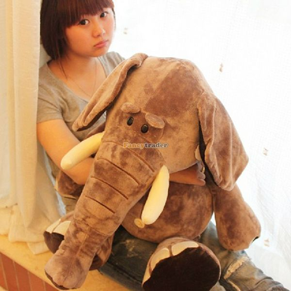 Fancytrader 31'' / 80cm Cute Stuffed Giant Super Soft Plush Brown Wild Elephant Toy, Great Gift For Kids, Free Shipping FT50166