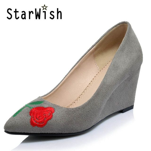 STARWISH Women's High Heels Pointed Toe Wedges Sexy Female Shoes Woman Embroider Pumps Shoes For Wedding Flock Red Black Gray