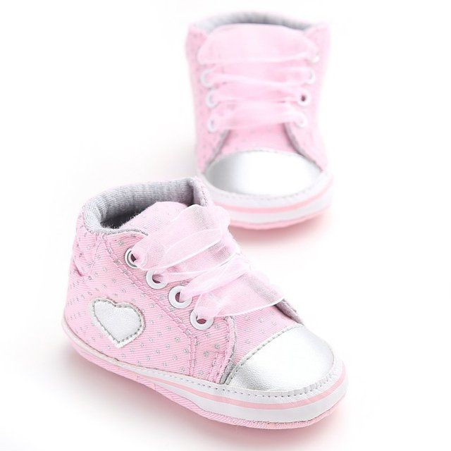 First Walkers Sneakers Shoes Toddler Classic Casual Shoes Infant Newborn Baby Girls Polka Dots Heart Autumn Lace-Up