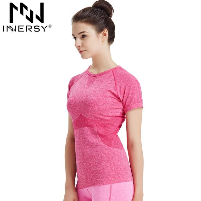 Innersy Dry Quick Gym Yoga T Shirt Tights Women's Sport Tees for Running Gym Fitness Short Sleeve Clothes Tops for Woman Jzh50