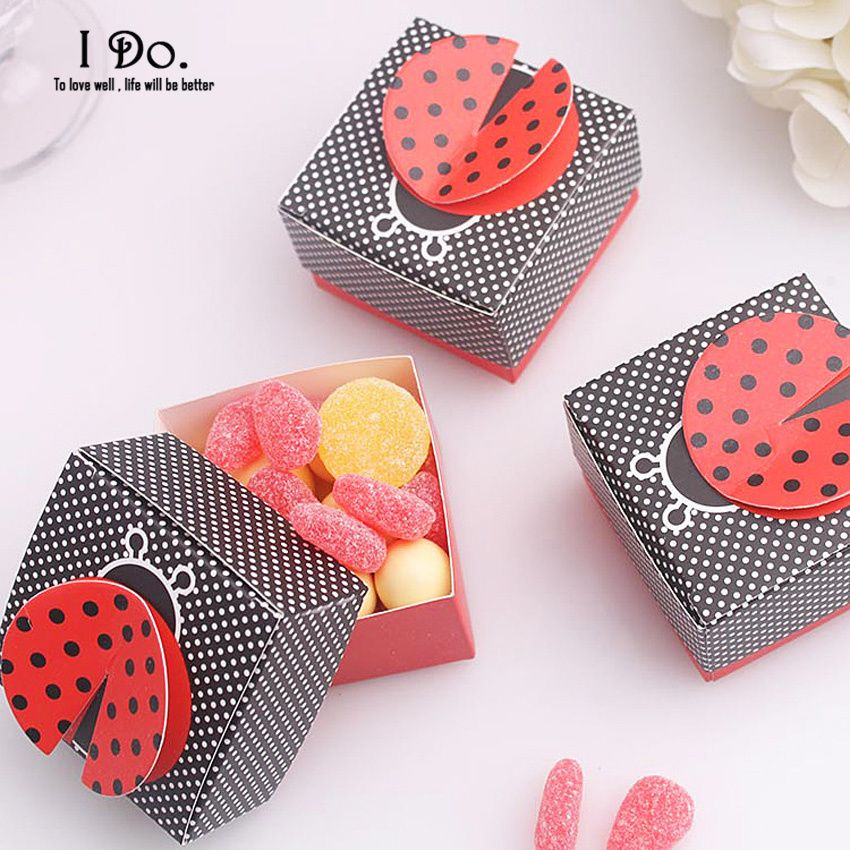 Free Shipping 10pcs Cute Beetles Birthday Favor Boxes Candy Box Baby Shower Party Decoration Baby Favors And Gifts Chocolate