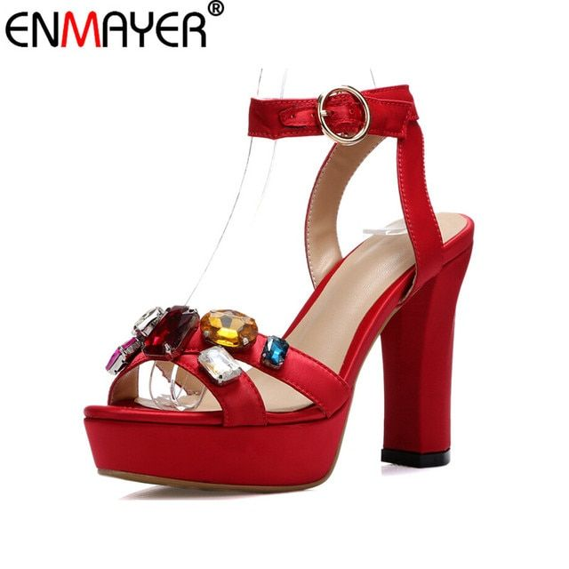 ENMAYER New Sexy Summer Women sandals high heels Buckle Thin heels Diamond fashion party high heels Purple Rose Red Size 34-39