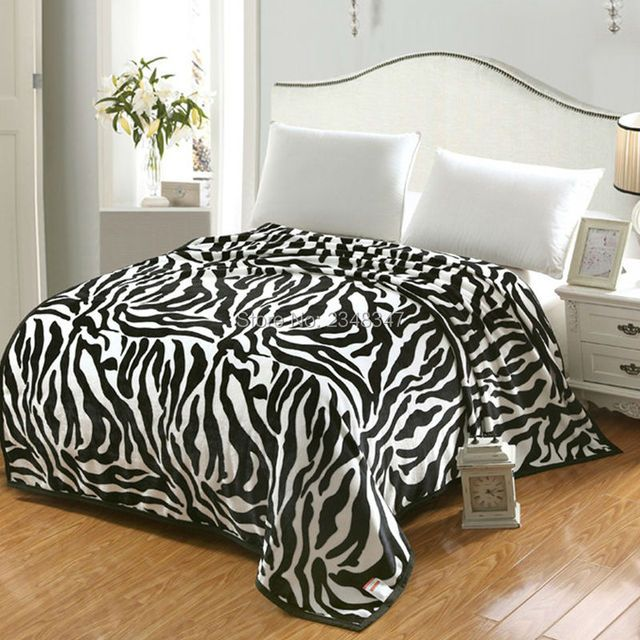 Quality Fashion Black Zebra Microplush Soft Warm Faux Mink Flannel Fleece Blanket Throws Bedsheet Twin/Full/Queen/King Size