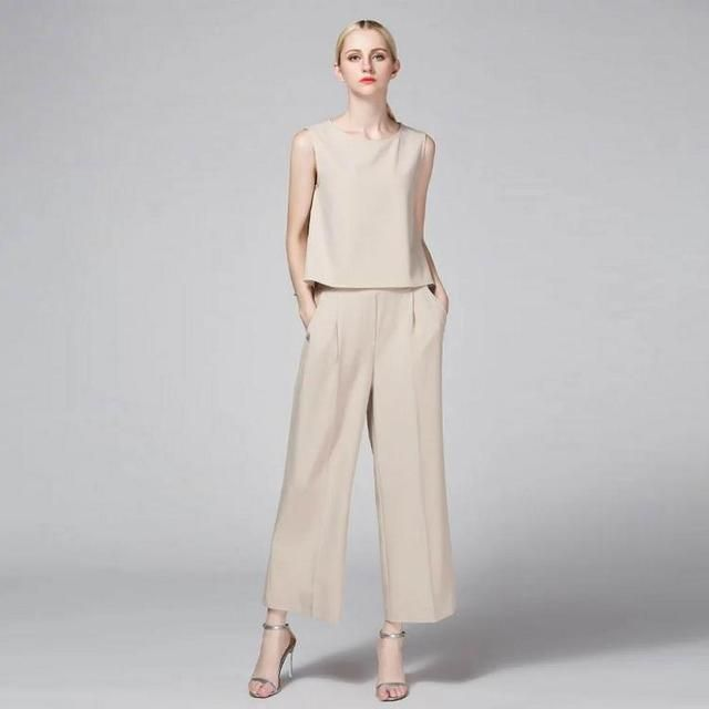 High Quality New Office Suit Women's Set Summer 2016 Ladies Sleeveless Solid Color Blouses Top+Elastic Waist Pant Trousers 2PCS