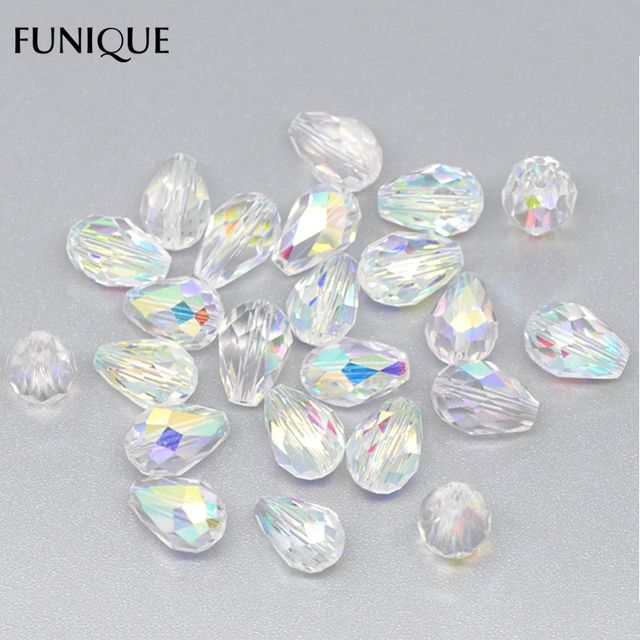 FUNIQUE Crystal Beads Jewelry 50PCs  Faceted Waterdrop Beads 1mm Hole Spacer Beads  For DIY Jewelry Gifts & Crafts 11x8mm