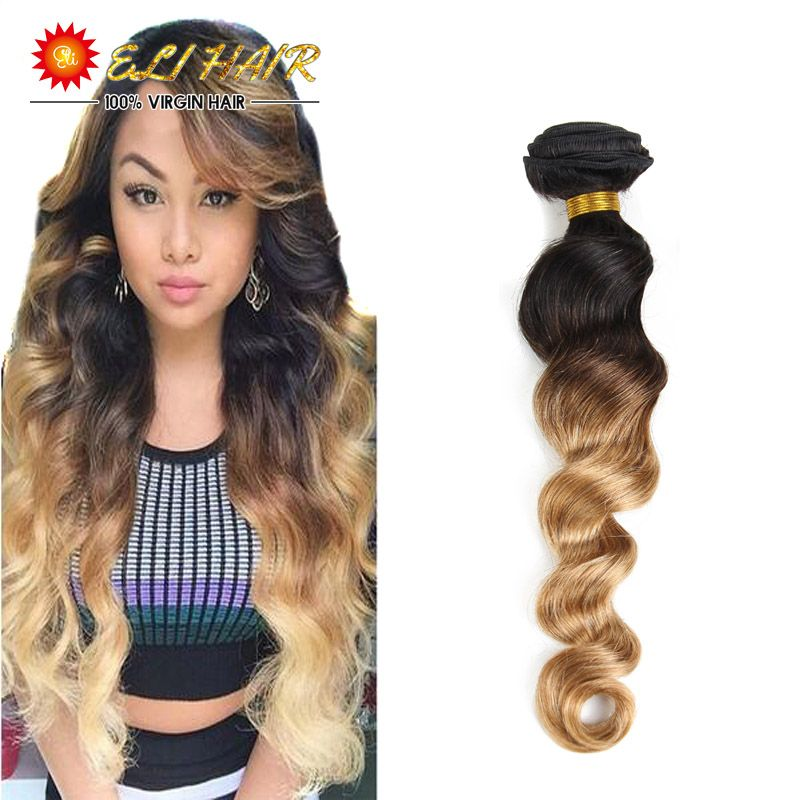 8A Ombre Brazilian Hair 1 Bundles Brazilian Loose Wave Ombre Human Hair Weave 1B/27 Blond Ombre Hair Loose Wave Brazilian Hair