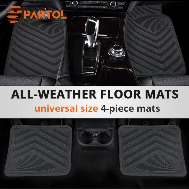 Partol Black Universal Car Waterproof Floor Mats PVC Car Carpet Auto Floor Mats for BMW Lada Volkswagen Golf Peugeot Kia Honda