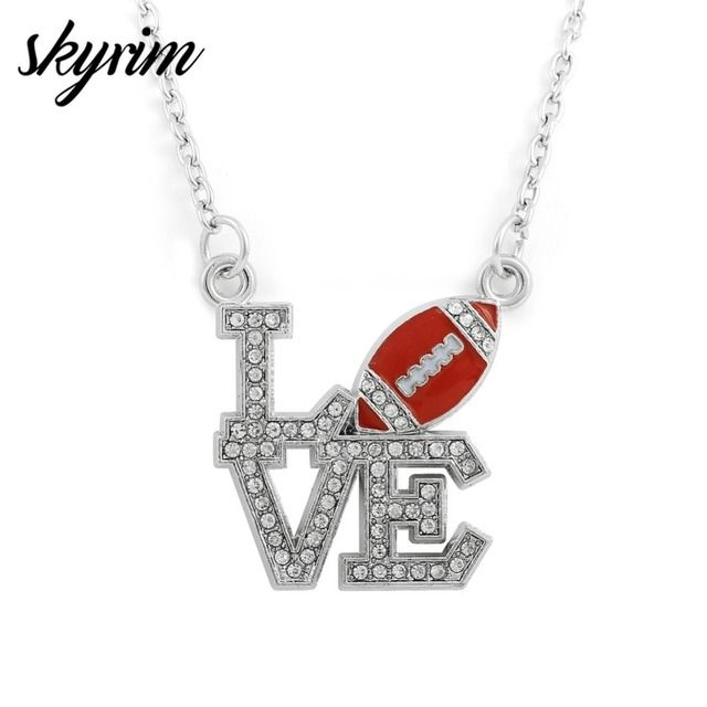 Skyrim COOL Red Crystal I Love Softball&Rugby Pendant Necklaces Adjustable Long Link Chain Sports Necklace Fashion Jewelry Gifts