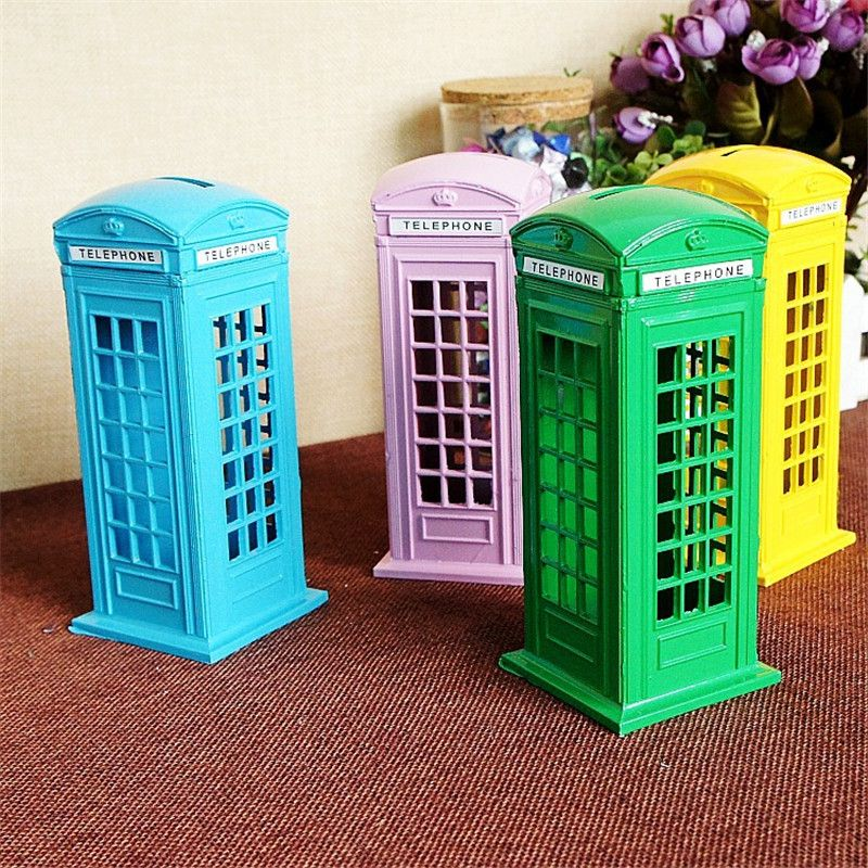 Money Box Red Telephone Booth Piggy Bank British Style Saving Money Birthday Christmas Gifts for Kids Creative Home Decoration