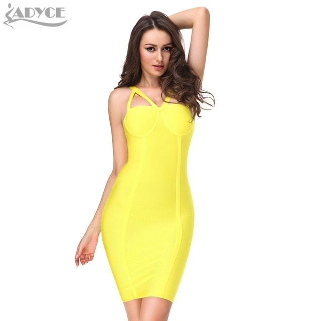 2017 Summer Women Runway Bandage Dress Bodycon Dress Yellow Spaghetti Strap Hollow Out Backless Celebrity Cocktail Party Dresses