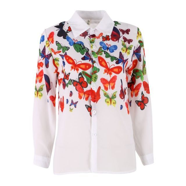 Autum Spring Women Chiffon Shirt Casual Blouse Fashion Long-sleeve Turn Down Collar Floral Butterflies Printing Tops