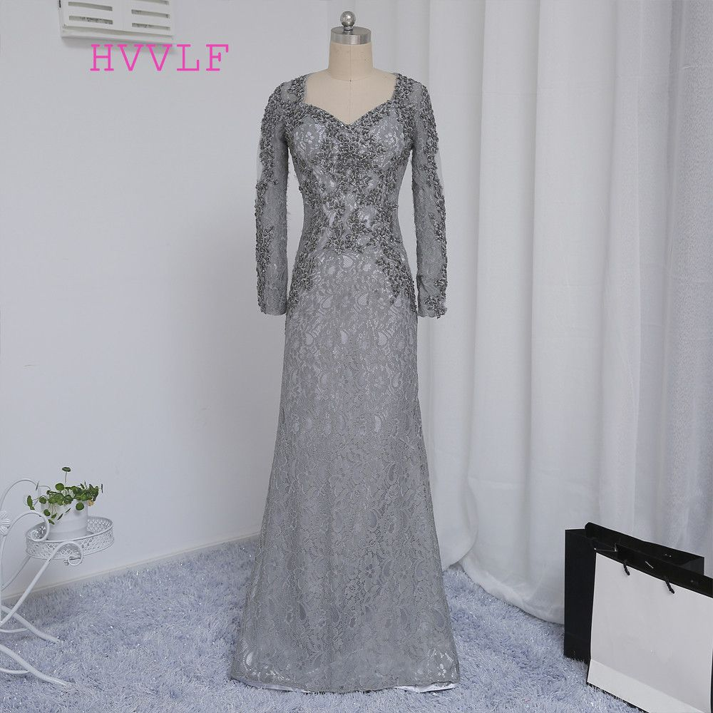 2019 Mother Of The Bride Dresses Mermaid V-neck Long Sleeves Silver Lace Beaded Mother Dresses Evening Dresses For Weddings