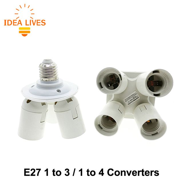 Lamp Holder Converters E27 1 to 3 and  E27 1 to 4 Lamp Base for AC 110-240V 100W Bulbs.
