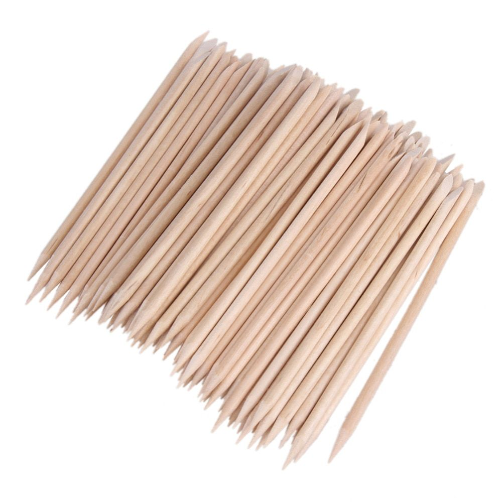 80-100pcs Nail Art Cuticle Pusher Orange Wood Stick Cuticle Pusher Remover Manicure Pedicure Care Pusher Beauty Nails Tools