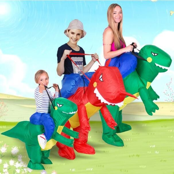 Inflatable Dinosaur Costume Fan Kids Adult Party Halloween Cosplay Animal Dino Rider T-Rex Costumes For Men Women
