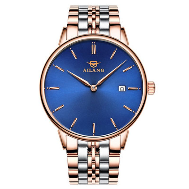 2017AILANG luxury brand new ultra-thin automatic mechanical watches is simple and stylish men watch sapphire watch steel