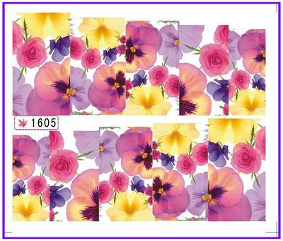 1X  Nail Sticker Full Cover Red Peony Rose Water Transfers Stickers Nail Decals Stickers Water Decal Opp Sleeve Packing SY1605