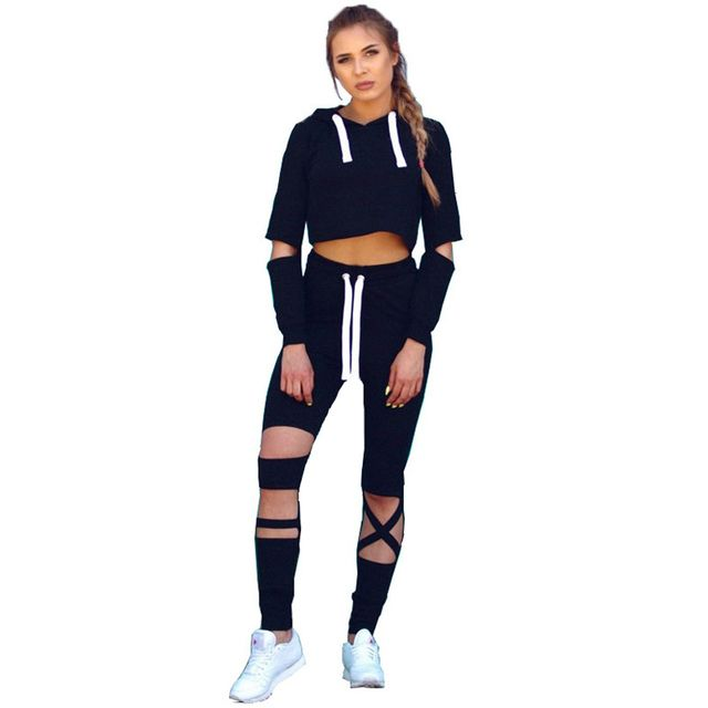 Tracksuits 2017 Fashion Sweat Suits Women Cut Out Long Sleeve Crop Top Hoodies + Hole Pants Sets Female Punk Rock Sporting Suit
