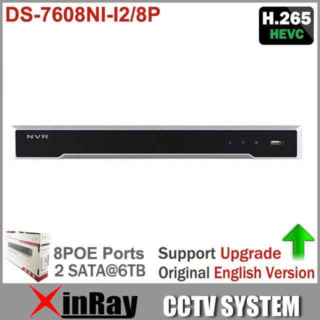 Original Hik DS-7608NI-I2/8P for HD IP camera up to 12MP recording Support H.265/H.264/MPEG4 video formats with 8 POE