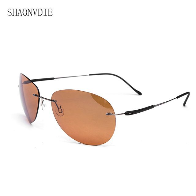 2016 New Fashion Ultralight Rimless Titanium Polarized Sunglasses Men Driving  Brand Design Sun Glasses Oculos De Sol 2349