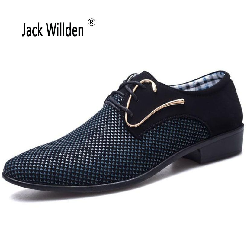 Jack Willden Plus Size 38-46 Fashion Lace-up Men's Suit Dress Shoes Office Men's Pointed Leather Shoes Male Business Shoes Flats
