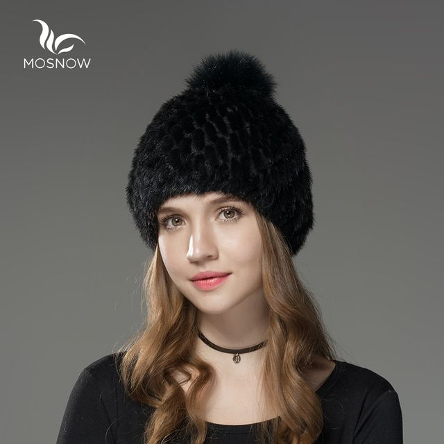 Mosnow 100% Natural Mink Fur Winter Fur Hats Pom Poms For Women Vogue Knitted Brand Casual Warm  Hat Female Skullies Beanies