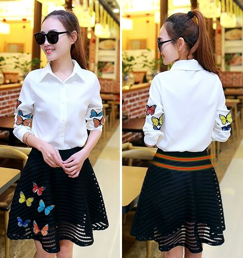 2 piece set women spring autumn 2016 feminina butterfly sweet embroidery two piece suit chiffon shirt and skirts female A1576