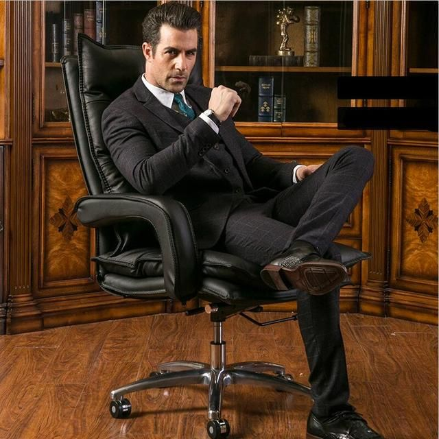 Home computer chair swivel boss chair genuine leather office chair ergonomic seat lifting executive protecting the neck armchair