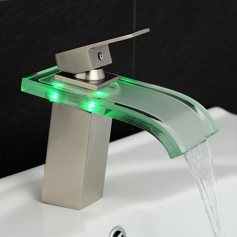 Basin Faucet Bathroom Waterfall LED Faucet Glass Waterfall Brass  Bathroom Mixer Tap Deck Mounted Basin Sink Mixer Tap LH-16802