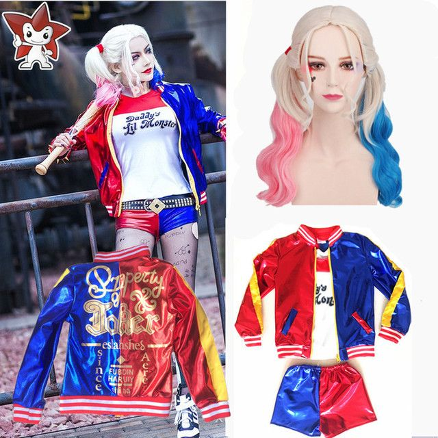 Girls Kids Harley Quinn Costume Cosplay JOKER Suicide Squad Halloween Purim Jacket sets Chamarras De Batman