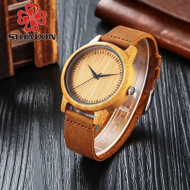 Bamboo Wood Watches Women Dress Quartz Wristwatch Leather Strap Watch Men's Fashion Luxury Brand Retro Relojes Hombre Male Clock
