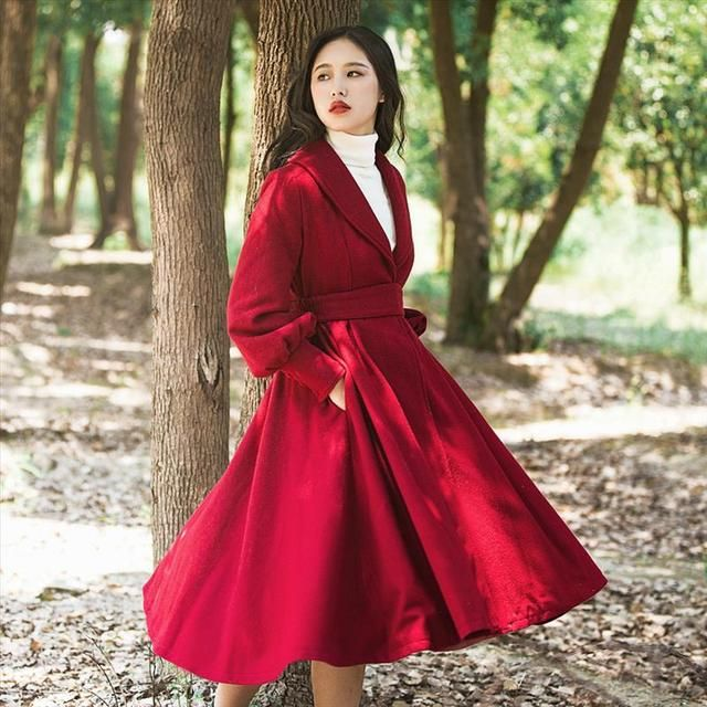 High Quality Autumn Winter Wool Blends Dress Coats Vintage Office Wear Elegant V-neck Long Sleeve Women Trench Coat Red