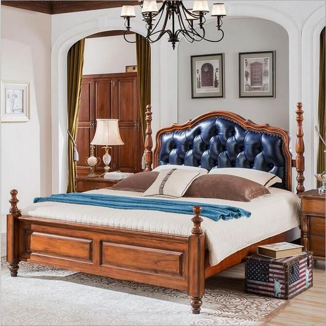 American solid wooden bed 1.5 meters 1.8 meters Europe type restoring ancient ways leather double bed